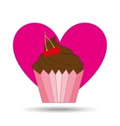 heart pink cartoon cupcake chocolate sweet icon vector image