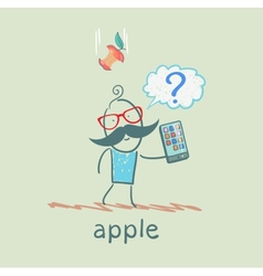man holding a mobile phone and an apple falls on vector image