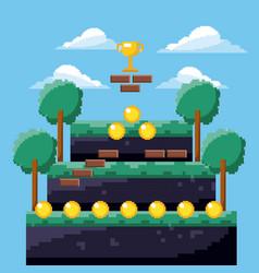 pixel game trophy level coins tree landscape vector image