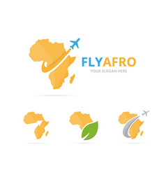 set of africa logo combination safari and travel vector image vector image