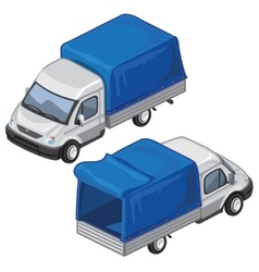 Van with blue tent for transport of goods vector image