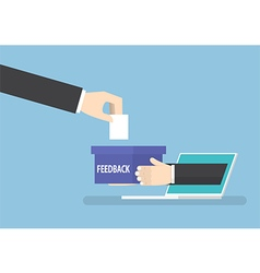 Businessman hand with feedback box sticking out vector