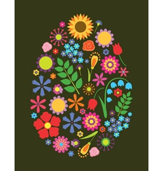 Flowers easter egg vector image