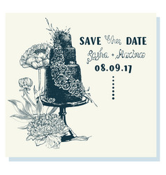 ink sketch of wedding cake with floral decoration vector image