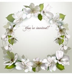 invitation with delicate white flowers vector image vector image