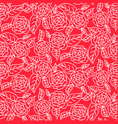 red line roses floral pattern seamless vector image