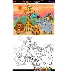 safari animals coloring page vector image