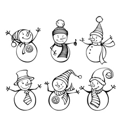 Six snowmen isolated on white background vector image