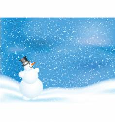 snowman on snowy night vector image