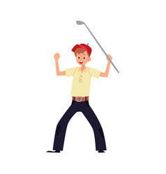 a man golfer rejoices in victory and raised his vector image