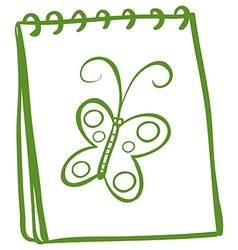 A notebook with an image of a butterfly vector image