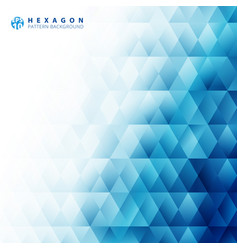 Abstract blue geometric hexagon pattern white vector