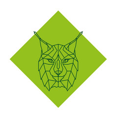 abstract geometric lynx head logo vector image