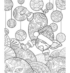 Adult coloring bookpage a cute dancing pig vector