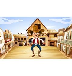 An armed man near the saloon vector