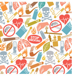 background pattern with smoking icons vector image