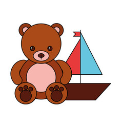 bear and boat kid toys vector image
