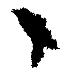 Black silhouette country borders map of moldavia vector