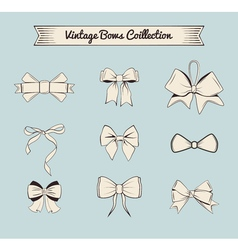 Bows vintage design elements set Isolated on blue vector image