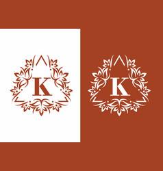 brown white k initial letter in vintage fame vector image