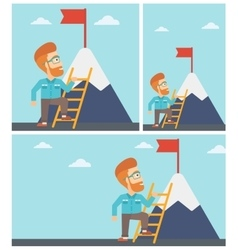 Businessman climbing on mountain vector image