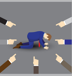 Businessman kneeling and others pointing at him vector