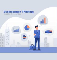 businessman thinking ideas vector image
