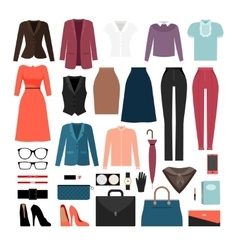 Businesswoman clothes and accessories vector image