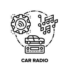 Car radio device concept black vector
