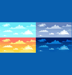 cartoon cloudy skies in different parts day vector image