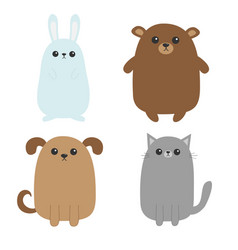 Cartoon dog cat bear grizzly rabbit hare icon vector