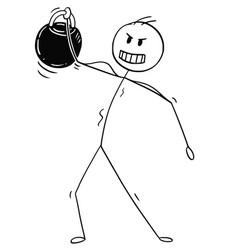 cartoon muscular man lifting kettlebell weight vector image
