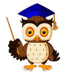 Cartoon pointing wise owl vector