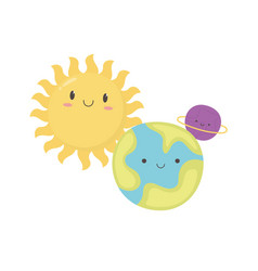 cartoon sun earth planet and saturn character vector image