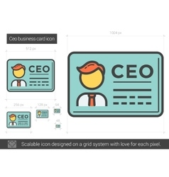 CEO business card line icon vector