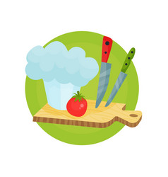 chef profession icon chef hat with kitchen vector image