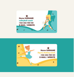 child in sport business card girl character vector image