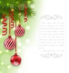 Christmas Card with Fir Branches and Glass Balls vector