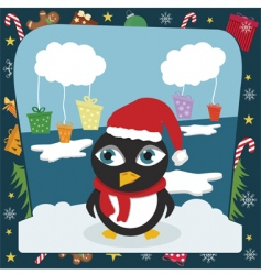 christmas penguin vector image