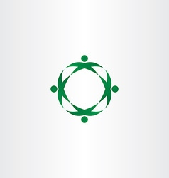 circle green people celebrate party logo icon vector image