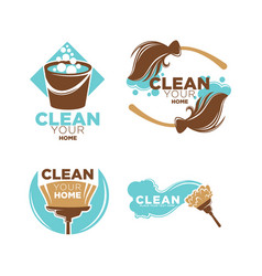 clean your home service promo logotypes vector image