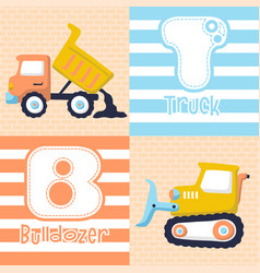 Construction vehicles cartoon on bricks vector
