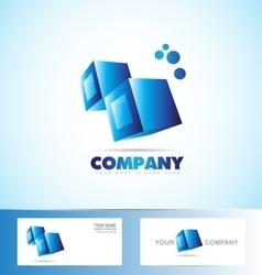 Cubes 3d blue logo icon vector image