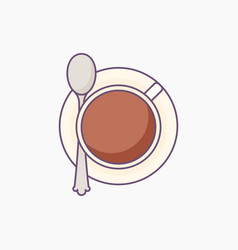 cup of coffee or tea on saucer with spoon - top vector image