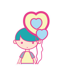 cute boy with heart balloons and hairstyle design vector image