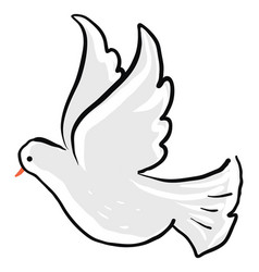 cute dove flying on white background vector image