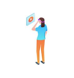 Cute girl in vr headset watch video online vector