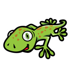 Cute green gecko crawling in cartoon style vector