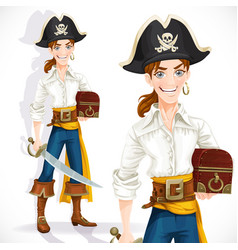 cute pirate with cutlass and chest isolated on a vector image