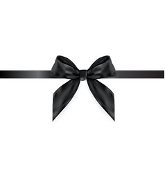 decorative black bow with ribbon isolated on whit vector image